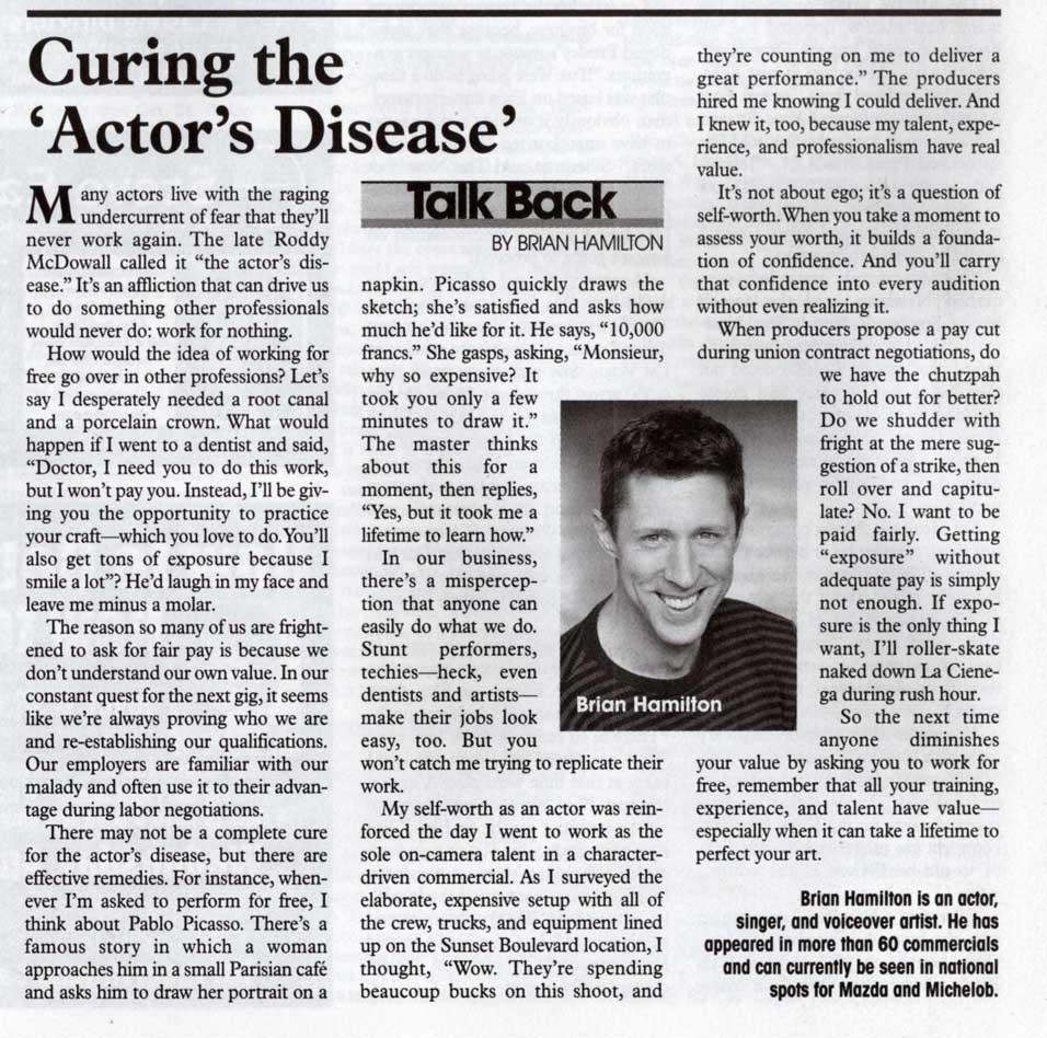 Brian Hamilton interview: Talk Back: Back Stage West - Apr 13, 2006