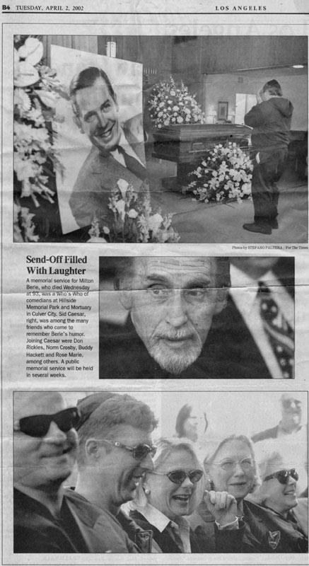 Brian Hamilton actor at Milton Berle's Funeral: LA Times