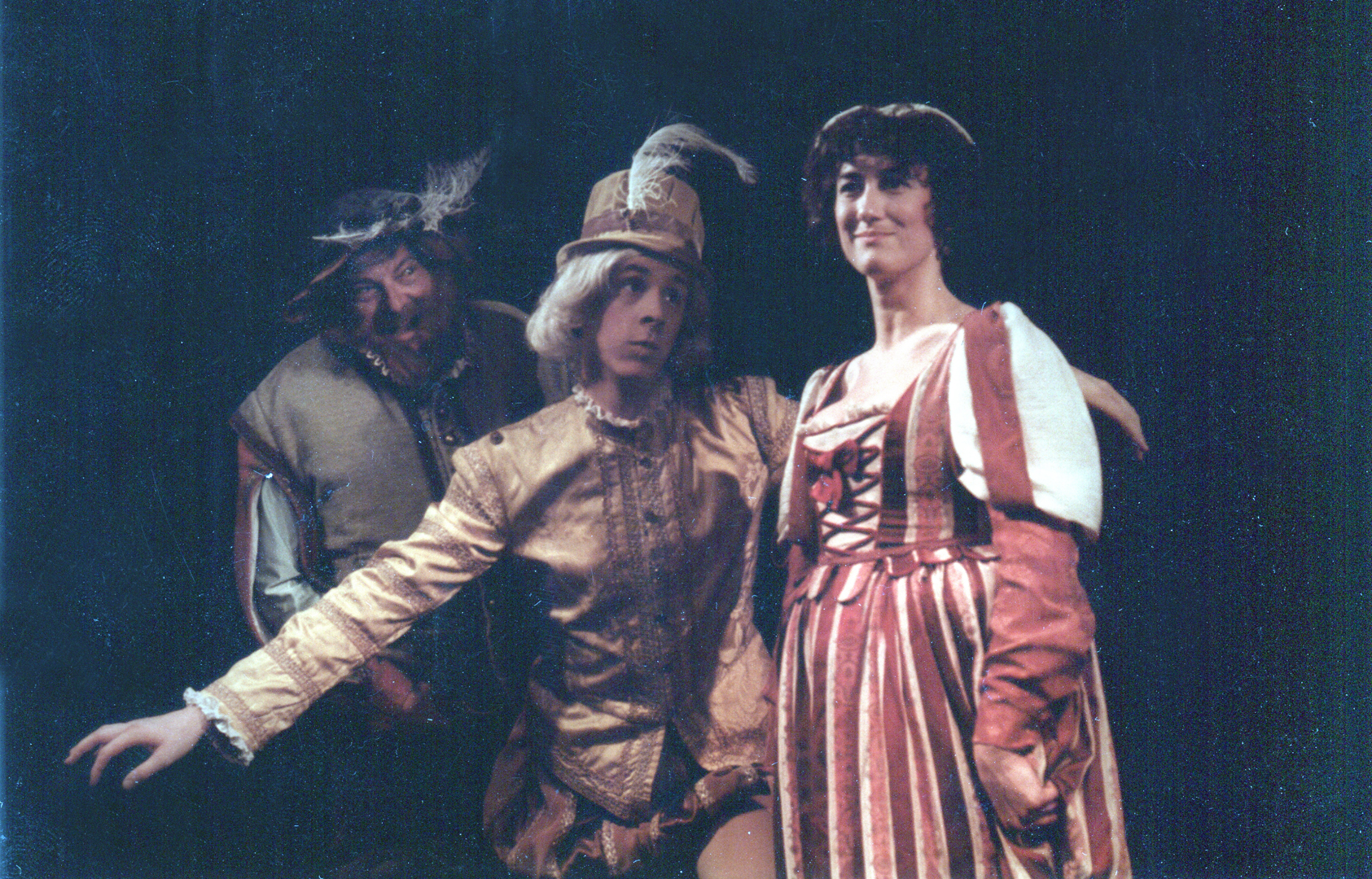 Once a 19 year-old Blonde for Shakespeare... with yellow pumpkin pants, buckled shoes, stockings, and a feathered hat.