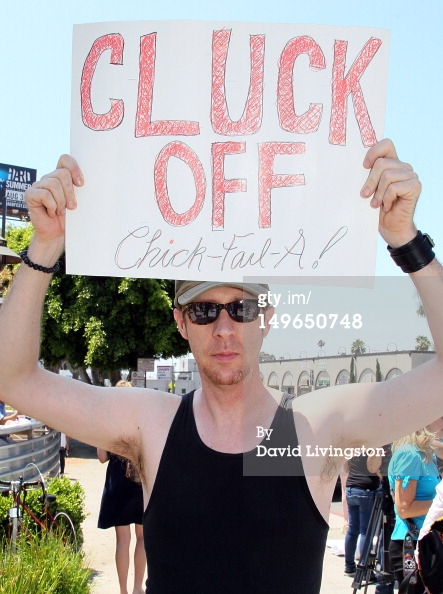 Chick-fil-A protest at Sunset Blvd and Highland Ave
