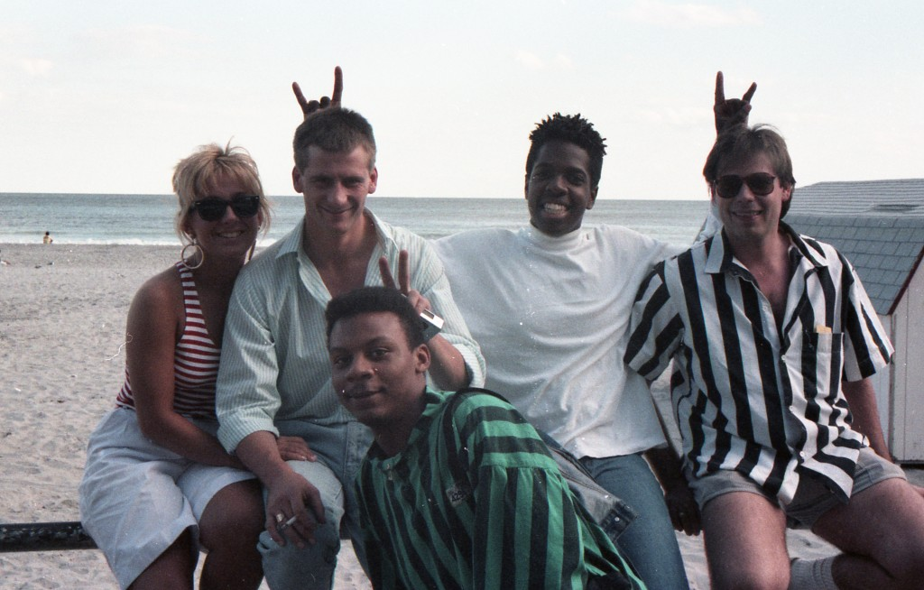 William Grosvenor, in foreground, 1987 trip to Atlantic City with waiters from Flutie's